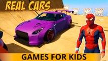 CARS SUPER avec SPIDERMAN! Cartoon for Kids 3D Comptines w action Chansons enfantines