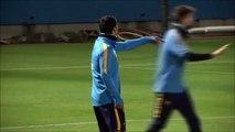 Leo Messi scores ridiculous goal in Barcelona training. Luis Suarez cant believe it