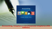Read  Accounting Chapters 115 Financial chapters 9th Edition Ebook Free