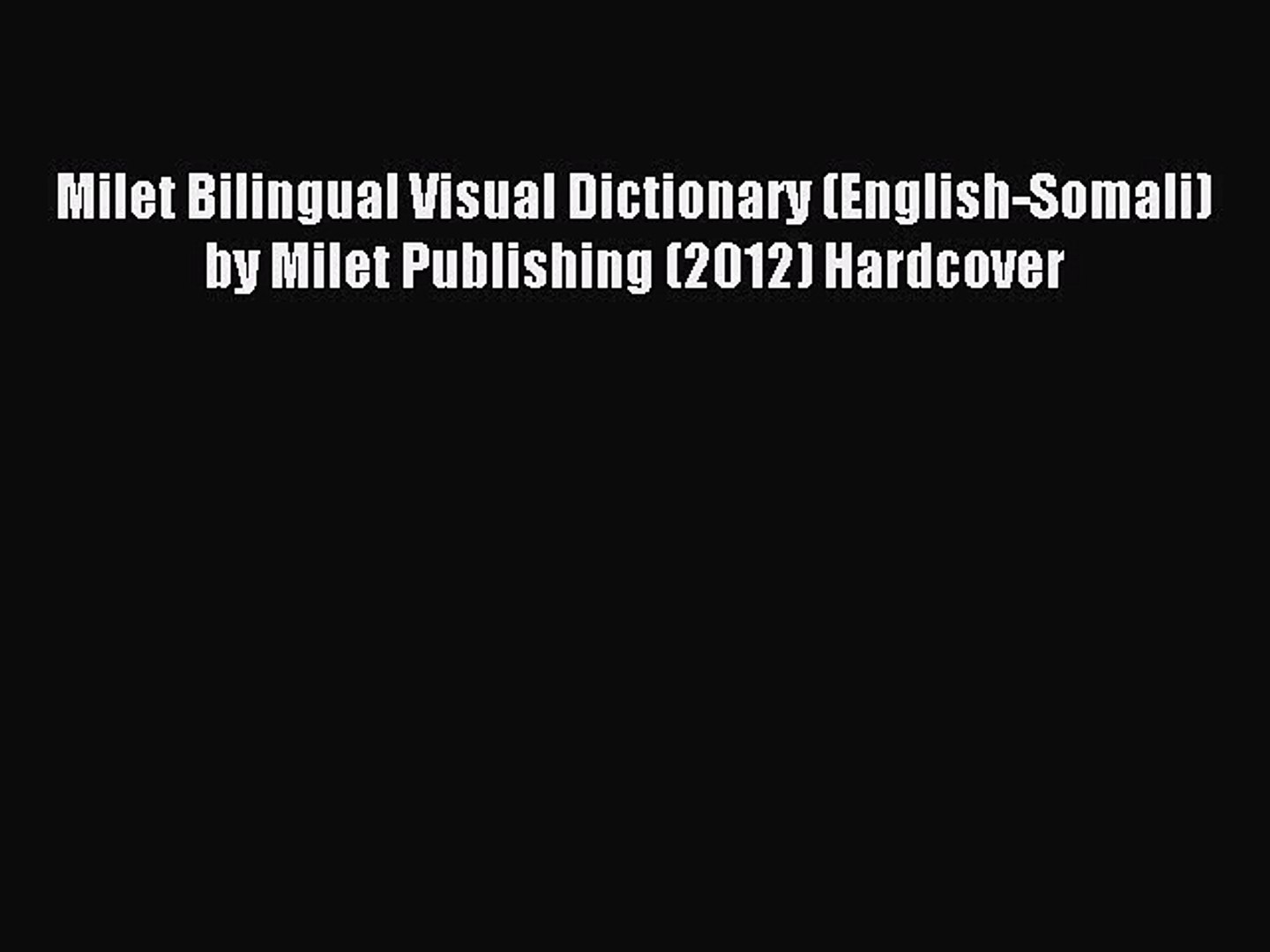 English–Arabic Milet Bilingual Visual Dictionary