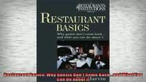 READ book  Restaurant Basics Why Guests Dont Come Backand What You Can Do About It  FREE BOOOK ONLINE