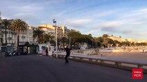 Tony Hawk en skate avec sa bouteille de rosé sur la Croisette à Cannes... Ahaha