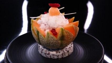 Fruits frais, granité au muscat de Beaumes-de-Venise, sorbet melon par Christophe Michalak (#DPDC)