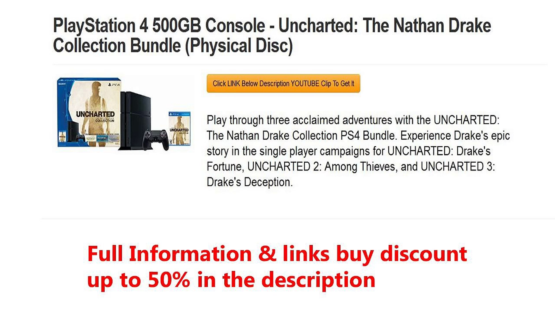 Playstation 4 500gb Console Uncharted The Nathan Drake Collection Bundle Physical Disc