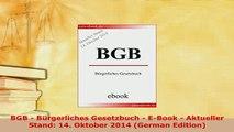 PDF  BGB  Bürgerliches Gesetzbuch  EBook  Aktueller Stand 14 Oktober 2014 German Free Books