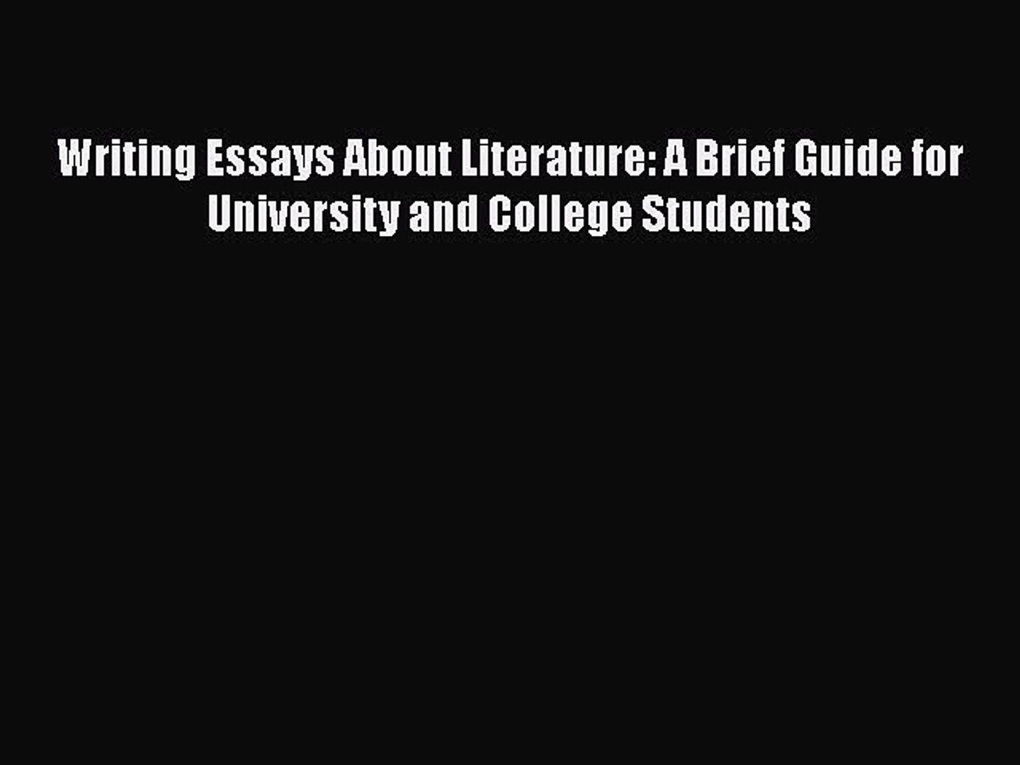 Favorite Song Essay  Essay Narrative also Sample Personal Narrative Essay Read Book Writing Essays About Literature A Brief Guide For University  And College Students Topics For Exemplification Essays