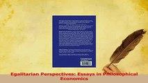PDF  Egalitarian Perspectives Essays in Philosophical Economics Download Online