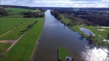 DJI Phantom 3 flight over the River Thames towards Henley Upon Thames, UK.