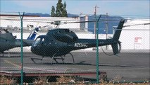 Helicopter Engine Warm-Up & Depart Airbus Aerospatiale AS355 TwinStar Van Nuys Airport 2015