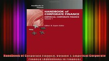 Full Free PDF Downlaod  Handbook of Corporate Finance Volume 1 Empirical Corporate Finance Handbooks in Finance Full Free