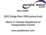 2002 Dodge Ram 2500 SLT pickup truck for sale   sold at auction March 21, 2013