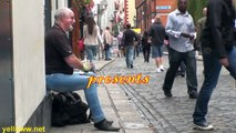 Playing Spoons in Dublin Ireland Awesome Street Performer