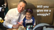 """Awkward! On campaign trail, Kasich asks little girl for """"snuggle"""""""