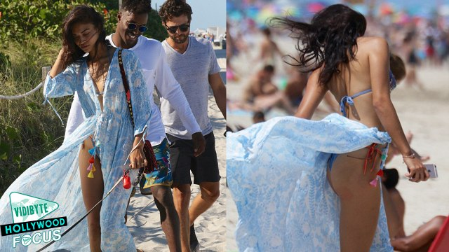 Victoria's Secret Model Shanina Shaik's Dress blows in the Wind