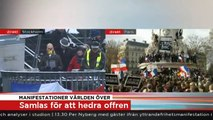 Reportrar utan gränser: Manifestation för Charlie Hebdo, Sergels torg (TV4 2015-01-11)