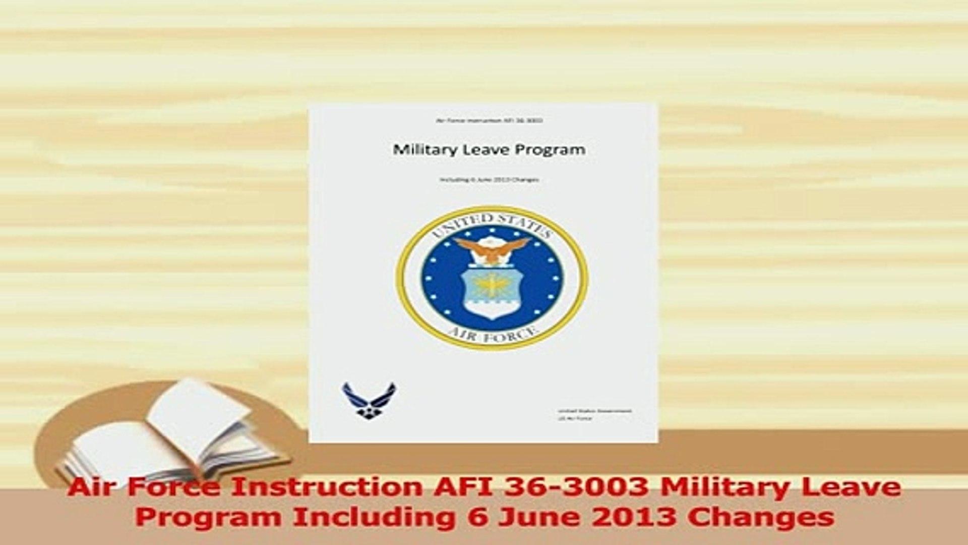 Air Force Instruction AFI 36-3003 Military Leave Program Including 6 June 2013 Changes
