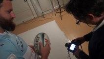 Séance photos pour la campagne prévention des Fêtes de Bayonne 2016 avec le rugbyman Aretz Iguiniz
