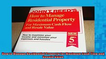 READ book  How to Manage Residential Property for Maximum Cash Flow and Resale Value  BOOK ONLINE