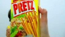 Japanese snack,  Glico PRETZ (Hot Chili Salad & Sweet Corn Flavor) Review ★Taste Test★NaraTube