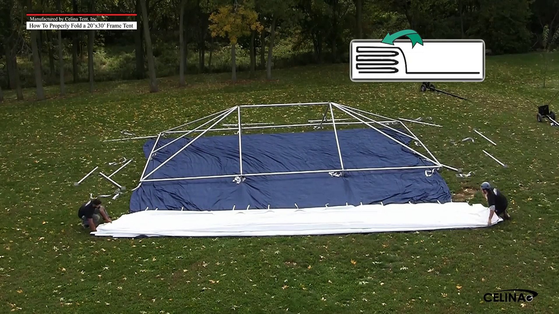 Folding & Rolling a 20' x 30' Frame Tent Top