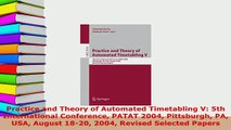 PDF  Practice and Theory of Automated Timetabling V 5th International Conference PATAT 2004  Read Online