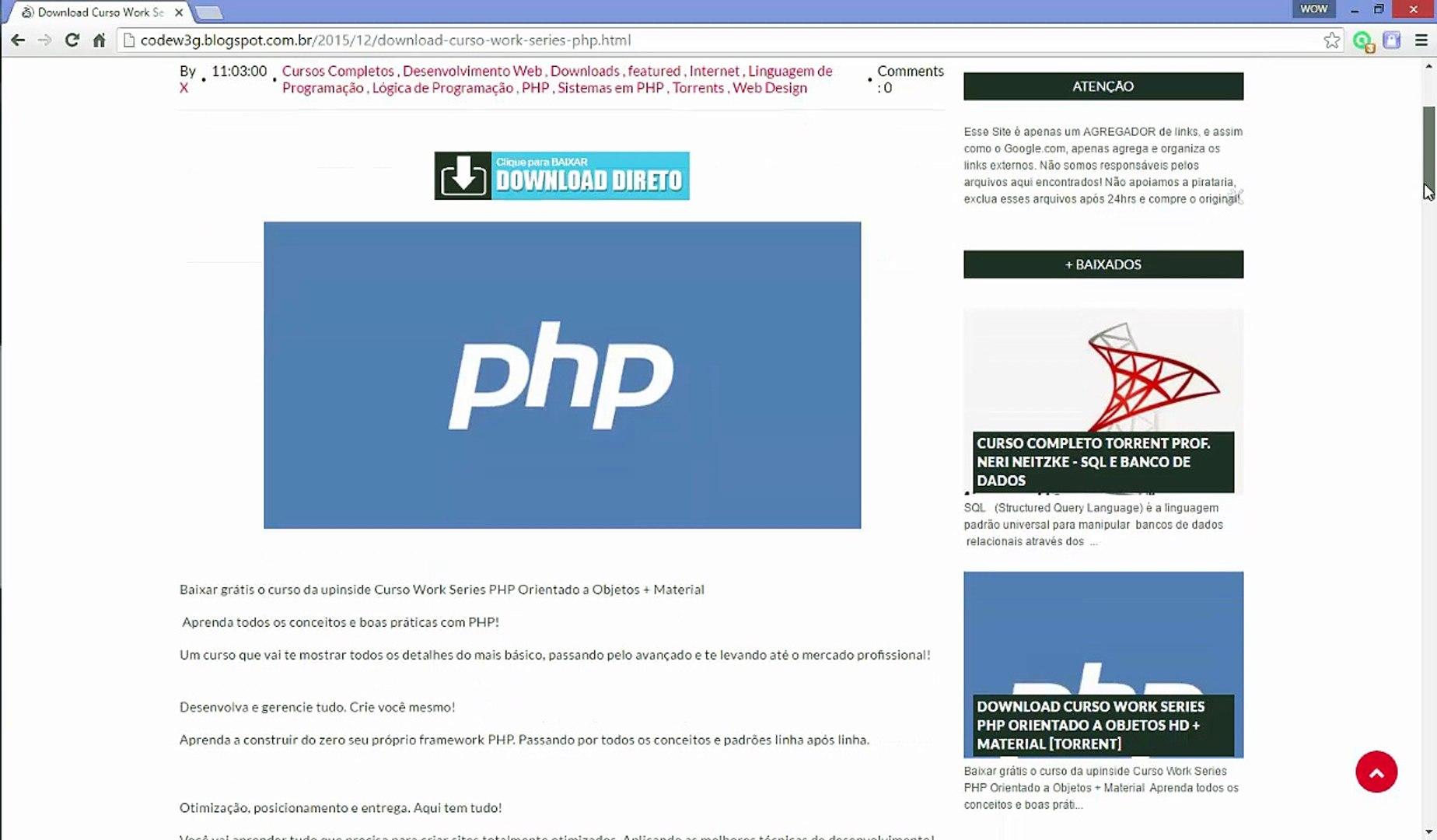[DOWNLOAD FREE] Curso de PHP Orientado a Objetos HD (Melhor curso PHP da internet)