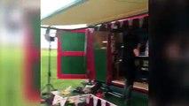 farmer sprays manure at Oscas ar winning actress Emma Thompson
