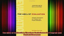 DOWNLOAD FREE Ebooks  The ABCs of Evaluation Timeless Techniques for Program and Project Managers Full EBook