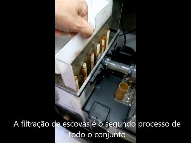 video filtro escovas e esponja