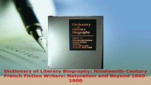 PDF  Dictionary of Literary Biography NineteenthCentury French Fiction Writers Naturalism Read Full Ebook