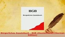 PDF  Bürgerliches Gesetzbuch  BGB Deutschland German Edition  EBook