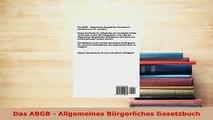 Download  Das ABGB  Allgemeines Bürgerliches Gesetzbuch Free Books