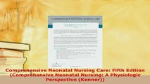 Download  Comprehensive Neonatal Nursing Care Fifth Edition Comprehensive Neonatal Nursing A Read Online