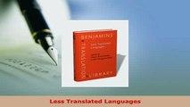 PDF  Less Translated Languages Download Full Ebook