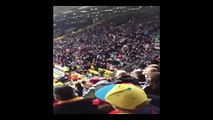 Aston Villa fans celebrating winning a corner at Watford