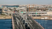 Business bay crossing bridge timelapse, 13-lane-bridge, over the Dubai Creek, opened in March 2007