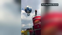 Hot air balloon goes wild in high winds