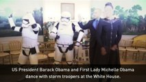 The Obamas celebrate Star Wars Day with storm trooper dance