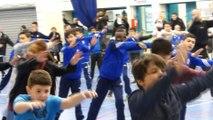 Inauguration du Parc Olympique Lyonnais. Les U15 et U17 de l'UGA LYON DECINES répètent leur chorégraphie.