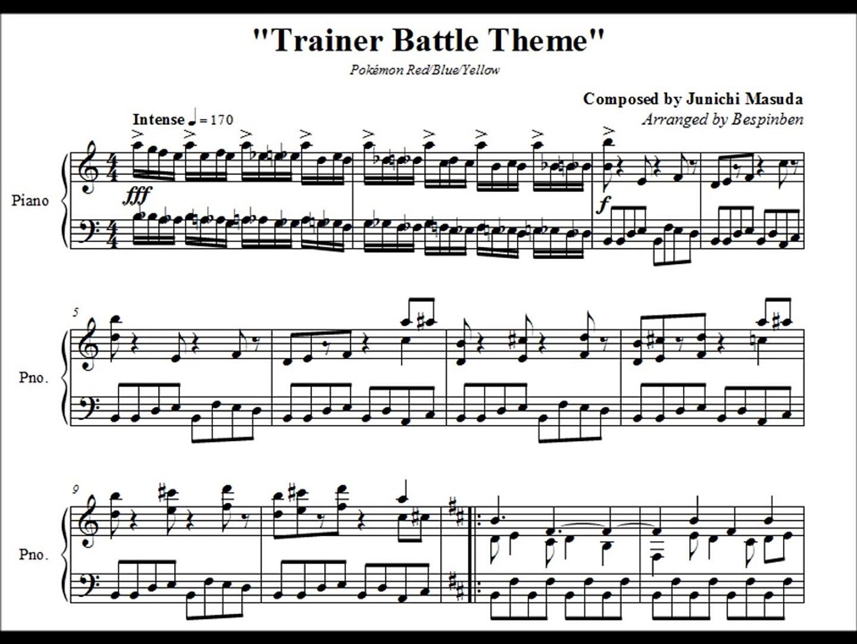 Pokémon RBY Trainer Battle Theme (Piano Sheet Music)