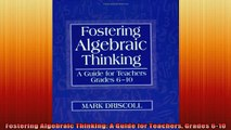READ book  Fostering Algebraic Thinking A Guide for Teachers Grades 610 Full EBook