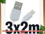 3x doupi® 2m de câble de chargeur de données pour Apple USB 8 broches Lightning - Blanc - Données