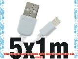 5x doupi® 1m de câble de chargeur de données pour Apple USB 8 broches Lightning - Blanc - Données