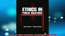 FREE EBOOK ONLINE  Ethics in Public Relations Responsible Advocacy Free Online