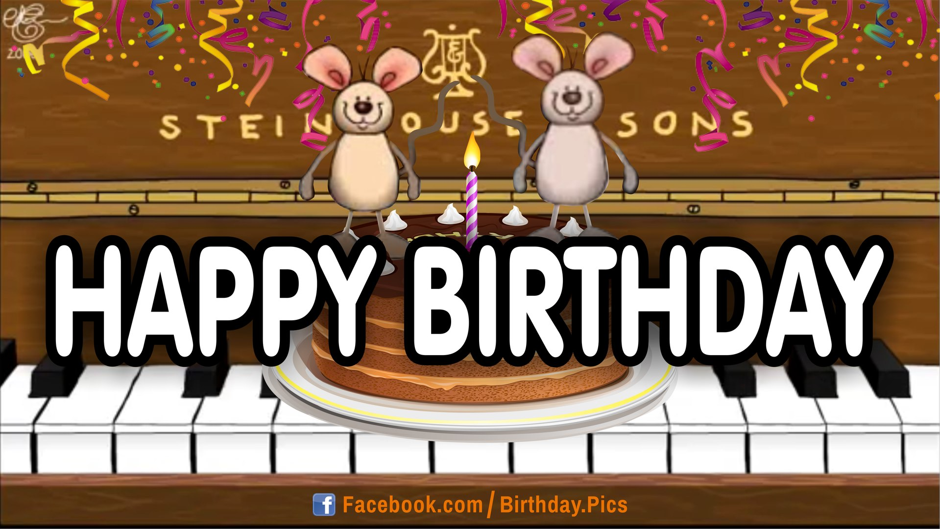 Happy Birthday Musical Mice Playing Piano