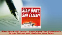 Download  Slow Down Sell Faster Understand Your Customers Buying Process and Maximize Your Sales Free Books