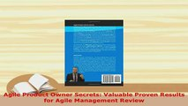 Download  Agile Product Owner Secrets Valuable Proven Results for Agile Management Review  EBook