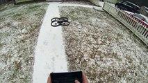 Parrot AR Drone 2.0 Snow Flying, Gopro Hero3 2.7k headmount hacked camera mod
