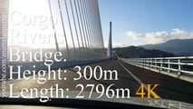 Bridge/Viaduct over Corgo river valley: full crossing. A4 motorway, Vila Real, Portugal. Length: 2796 m, height: 300 m, width: 28 m | Ponte/Viaduto sobre o vale do rio Corgo: travessia completa. Autoestrada A4 | 4K UHD