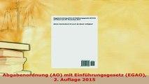 Download  Abgabenordnung AO mit Einführungsgesetz EGAO 2 Auflage 2015 PDF Book Free